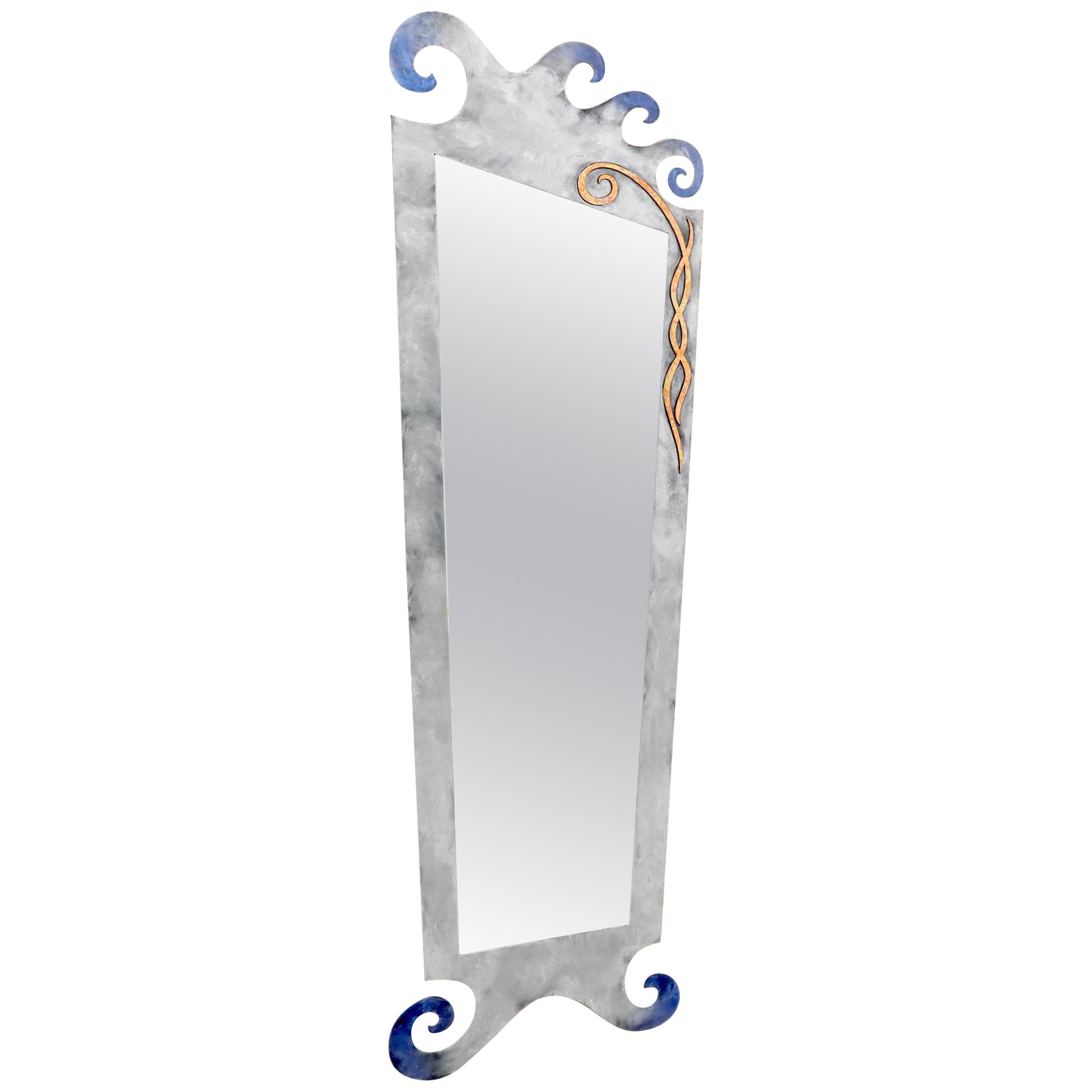 Large Decorative Metal Frame Floor Standing Wall Mirror