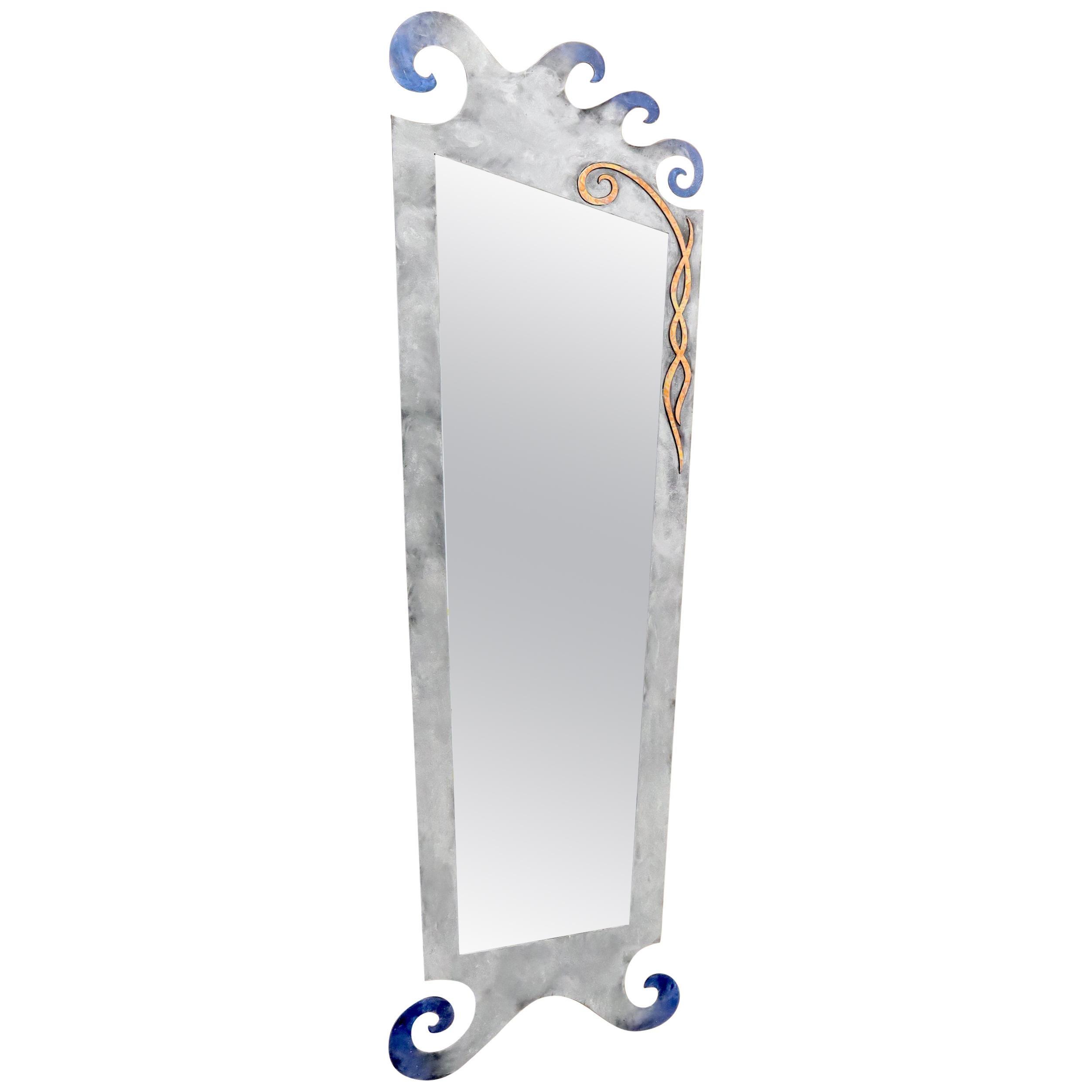 Large Decorative Metal Frame Floor Standing Wall Mirror
