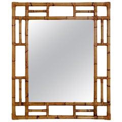 Large Decorative Midcentury Bamboo Mirror, circa 1970, Italy