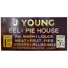 Large Decorative Painted Advertising Sign, Eel and Pie Shop