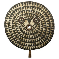 Large Decorative Round Flat Bwa Bird Mask with B & W Geometric Design Wall Art