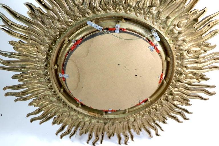 Large Decorative Sunburst Starburst Mirror with Cast Plastic Frame For Sale 4