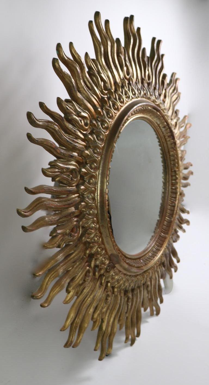 Large Decorative Sunburst Starburst Mirror with Cast Plastic Frame For Sale 3