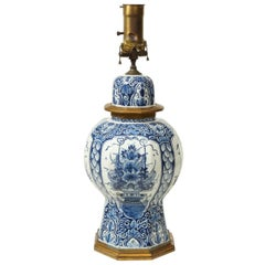 Large Delft Blue and White Ceramic Ginger Jar Mounted as a Table Lamp