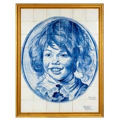 """Large Delft Blue Tile Panel """"the smiling boy"""" Frans Hals"""