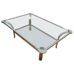 Large Design Chrome Coffee Table with Glass Shelves, French, Circa 1970