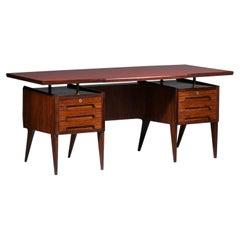 Large Desk by Italian Designer Vittorio Dassi in Wood and Glass, E447