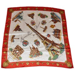 """Large Detailed """"Wonderful Paris"""" with Red Borders Scarf"""