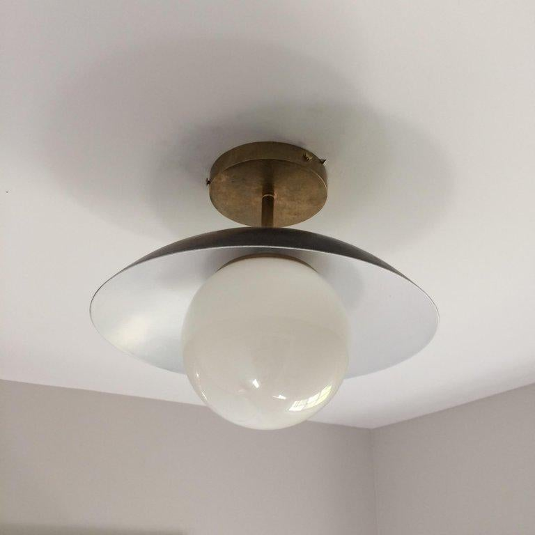 American Large Diameter Sasco Pendant in Solid Brass with Matte Milk Glass Globe For Sale