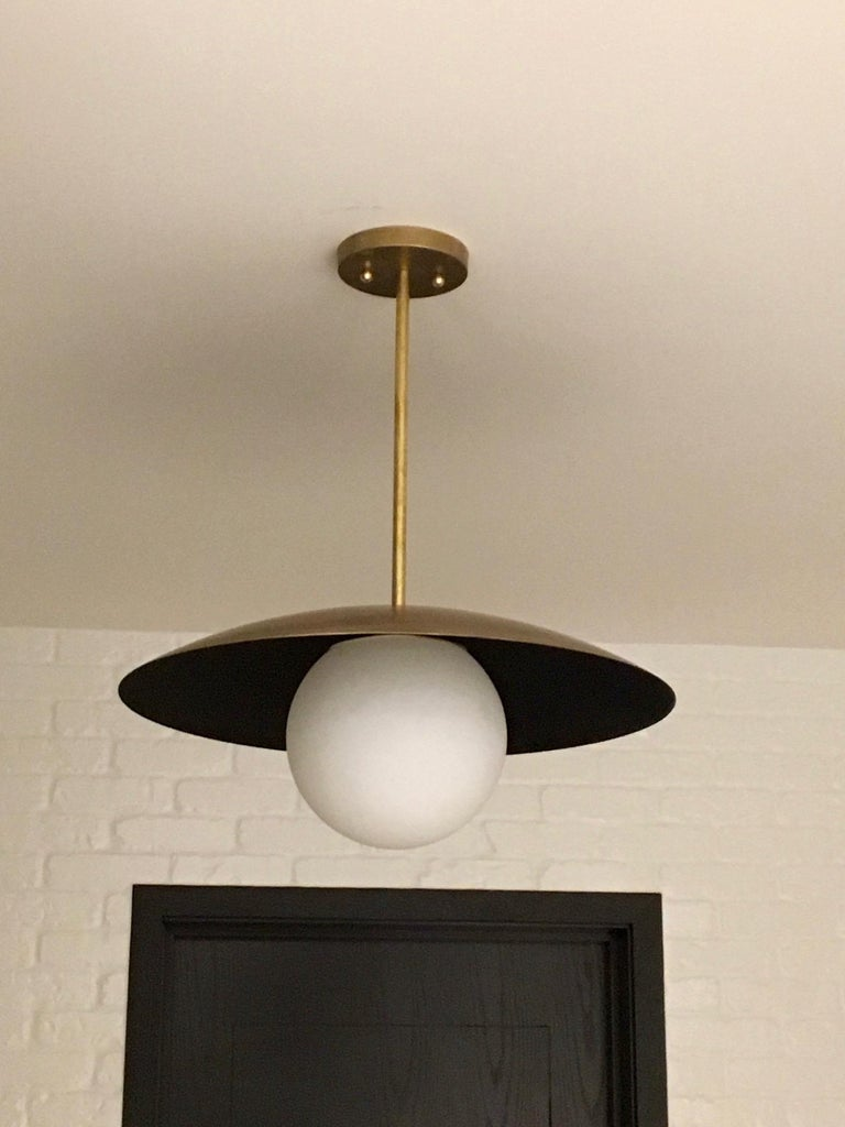 Large Diameter Sasco Pendant in Solid Brass with Matte Milk Glass Globe In New Condition For Sale In Pound Ridge, NY