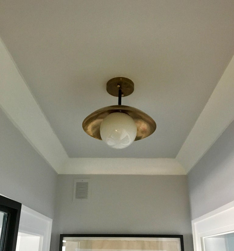 Contemporary Large Diameter Sasco Pendant in Solid Brass with Matte Milk Glass Globe For Sale