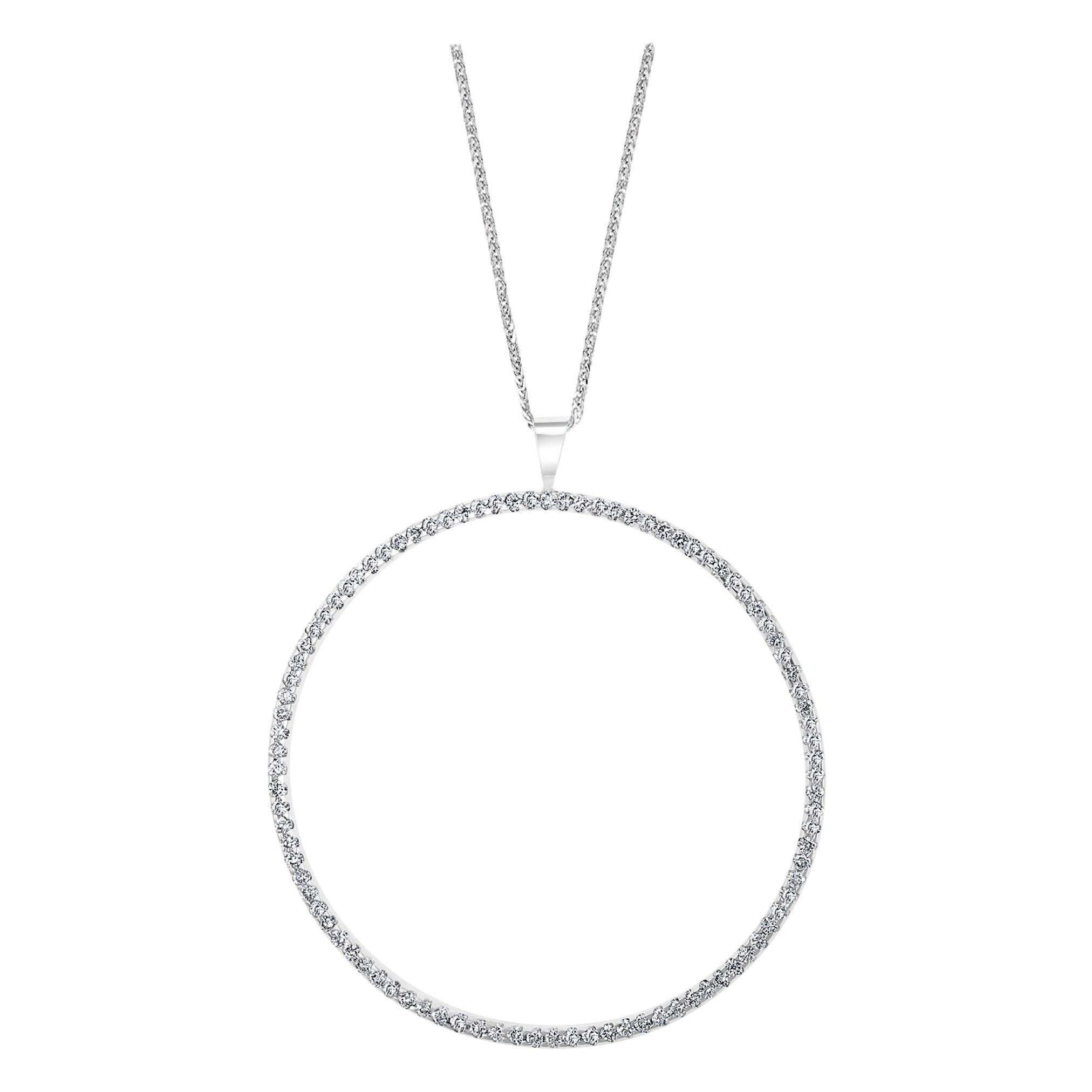 Large Diamond Circle Pendant/ Necklace 18 Karat White Gold with 14 K Gold Chain
