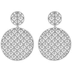 Large Diamond Circular Criss-Cross Drop Earrings