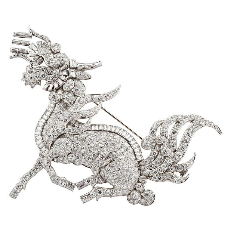 Large Diamond Dragon Brooch For Sale