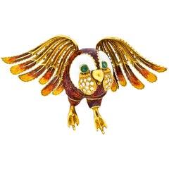 Large Diamond Emerald 18 Karat Gold Enamel Owl Brooch