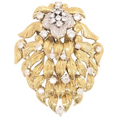 Large Diamond Flower and Gold Leaf Floral Brooch Pendant Pin