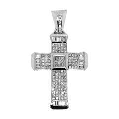 Large Diamond Gold Cross Pendant
