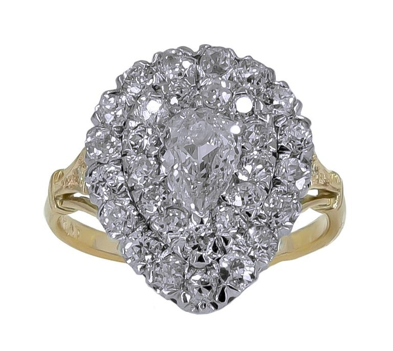 Women's or Men's Large Diamond Gold and Platinum Ring For Sale