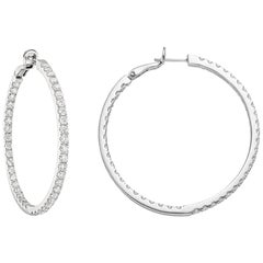 Large Diamond Hoop Earrings '~4 Carat'