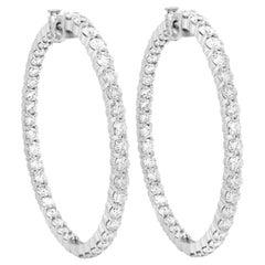 Large Diamond Hoop Earrings Inside Out White Gold
