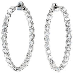 Large Diamond Hoop Earrings with Round Ideal Cut Diamonds in 18 Karat White Gold