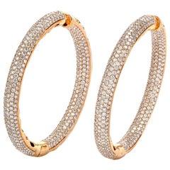 Large Diamond Hoop Rose Gold  Earrings