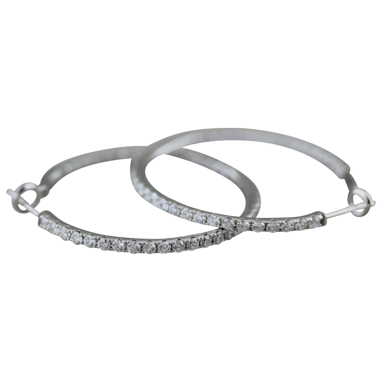 Large Diamond Inside-Out Gold Hoop Earrings