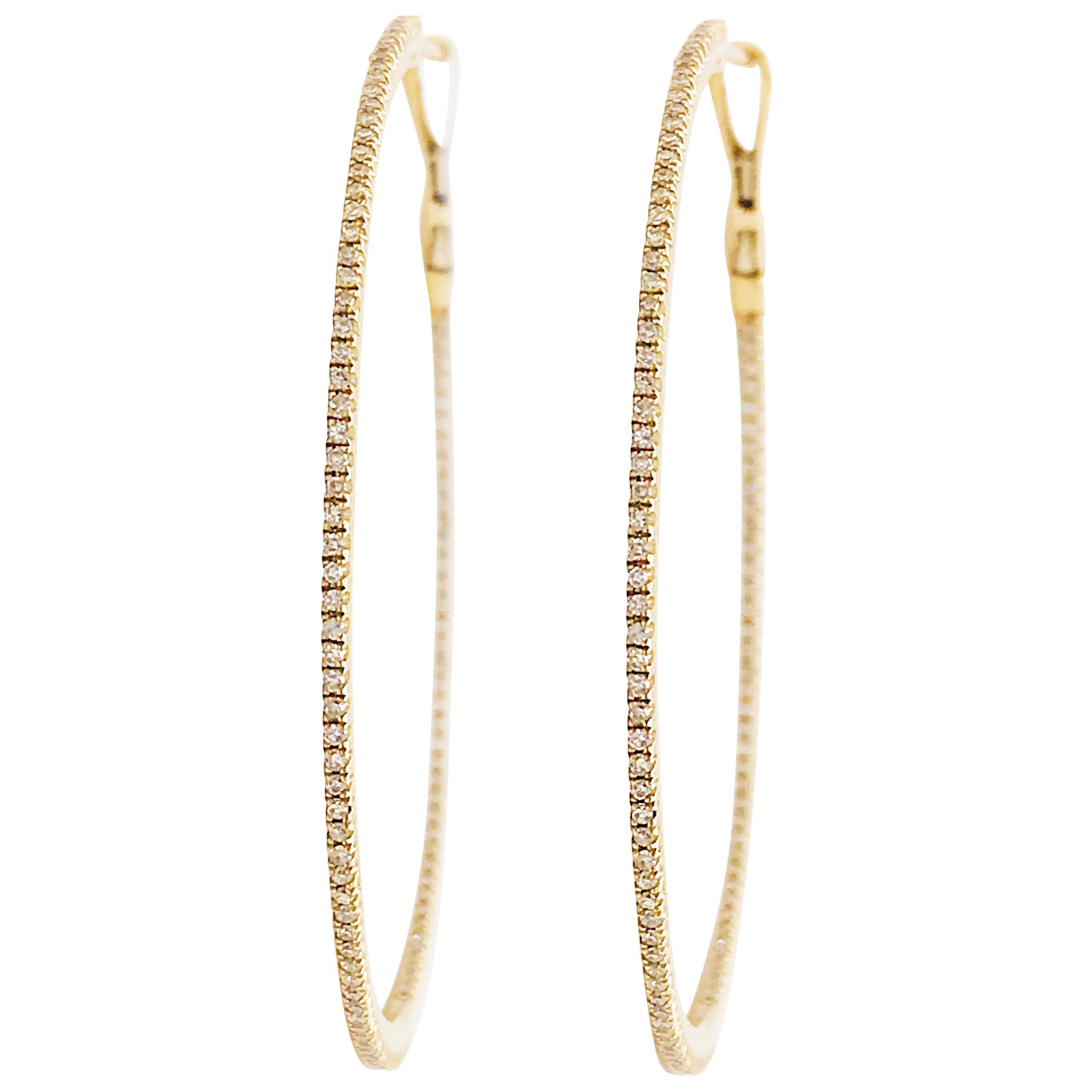 Large Diamond Inside Out Hoop Earrings 14K Yellow Gold 3/4 Carat Diamond Hoops