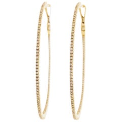 Large Diamond Inside Out Hoop Earrings 14K Yellow Gold 3/4 Carat Diamond Hoops