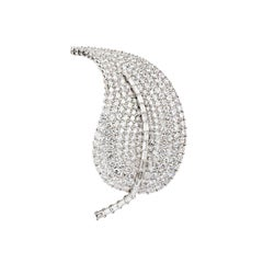 Large Diamond Leaf Brooch 8.00-9.00 Carat D/E Color