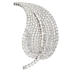 Large Diamond Leaf Brooch 8.5 Carats D/E Colour VS