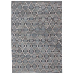 Large Diamond Pattern with All-Over Modern Design Flat-Weave Kilim