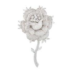 Large Diamond Rose Flower Brooch 11.21 Carat