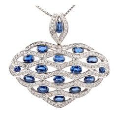 Large Diamond Sapphire 18 Karat Dome Heart Pendant