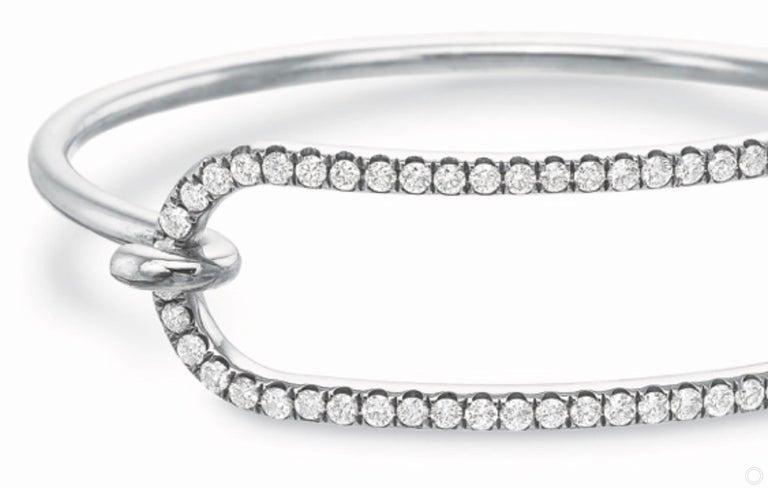 Modern Large Diamond Tension Bracelet in 18 Karat White Gold For Sale