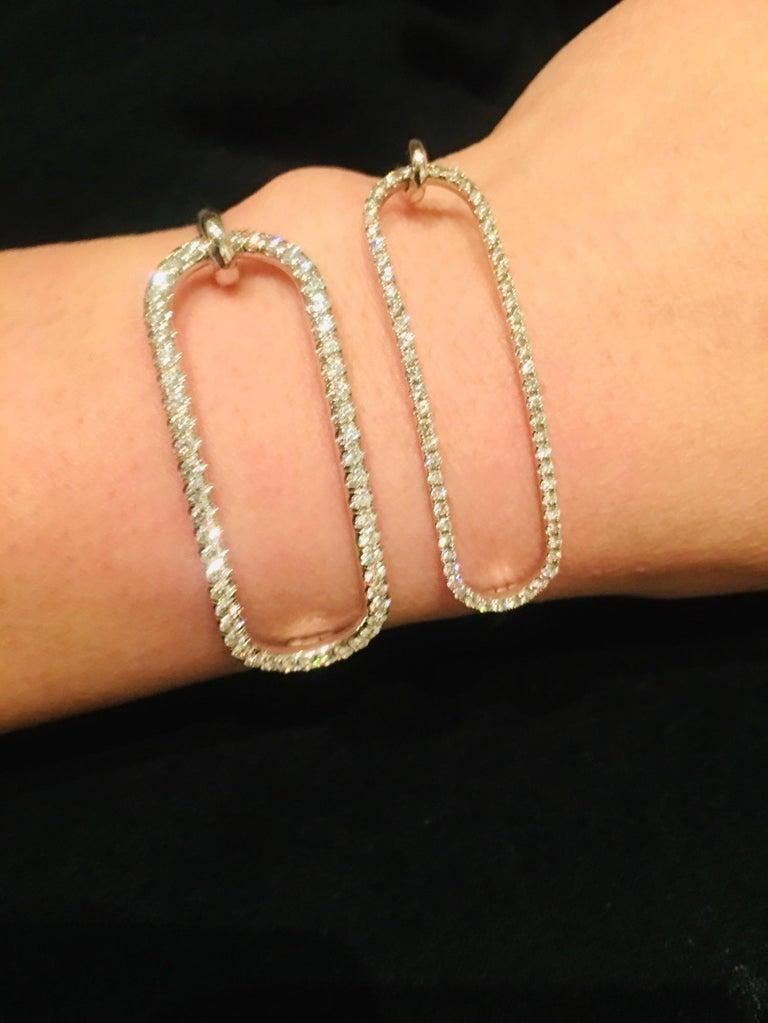 Round Cut Large Diamond Tension Bracelet in 18 Karat White Gold For Sale