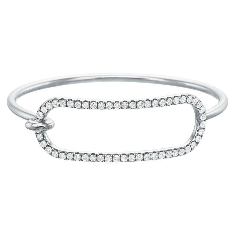 Large Diamond Tension Bracelet in 18 Karat White Gold For Sale