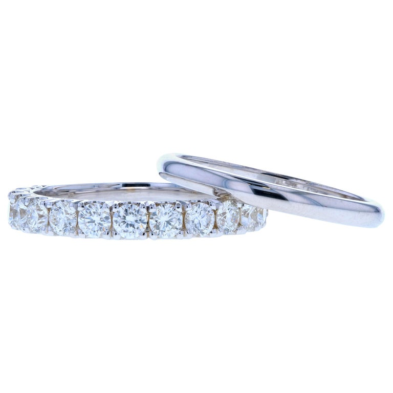Large Diamond Wedding Band Set in White Gold For Sale