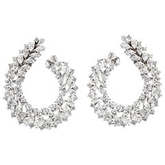 Large Diamond Wreath Cluster Hoop Earrings