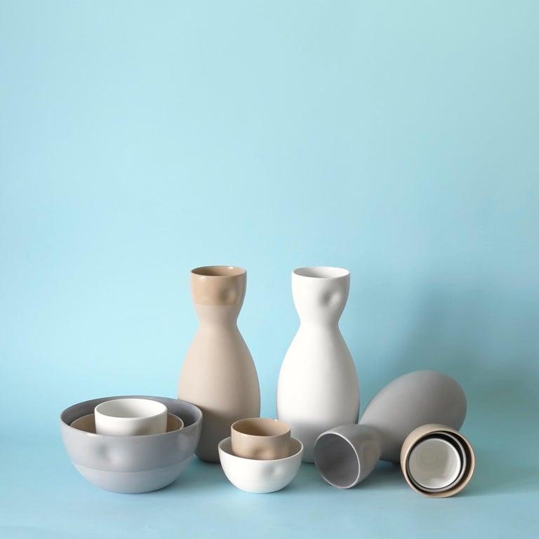 Molded Large Dimpled Porcelain Bowl in Matte Bisque For Sale