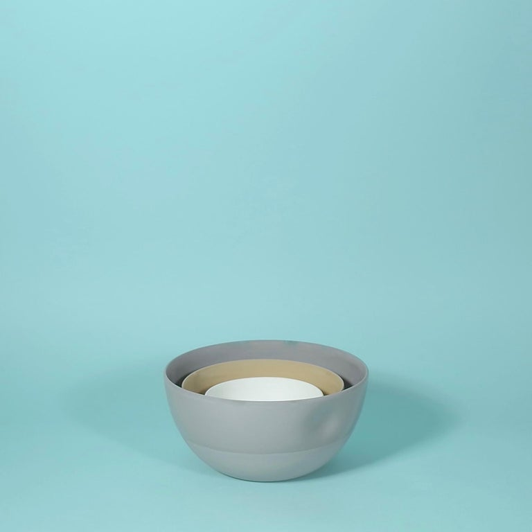 Chinese Large Dimpled Porcelain Bowl in Matte Latté For Sale