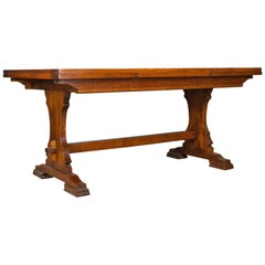Large Dining Table, English, Oak, Draw Leaf, Extending, 20th Century