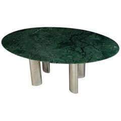 Großer Esszimmertisch mit Grüner Tischoberfläche und Chrom Metall Tischbeinen