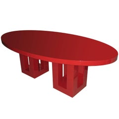 Large Red Lacquer Dinning Table by Francois Champsaur