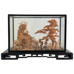 Large Diorama 3D Hand Carved Cork Art Scenic Black Lacquer San You