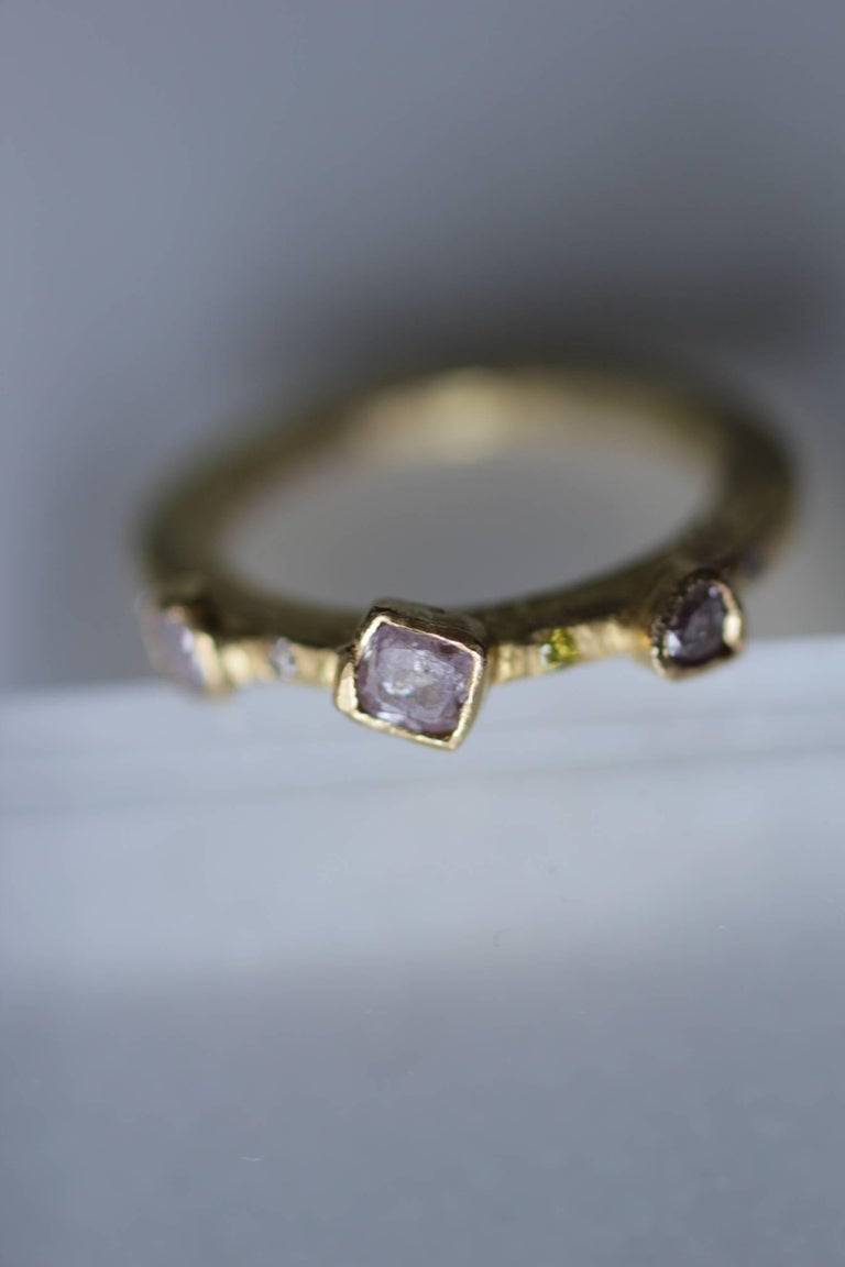 Contemporary Color Diamond Tree-Stone Bezel Set in 22k Gold Engagement Bridal Ring Handmade   For Sale