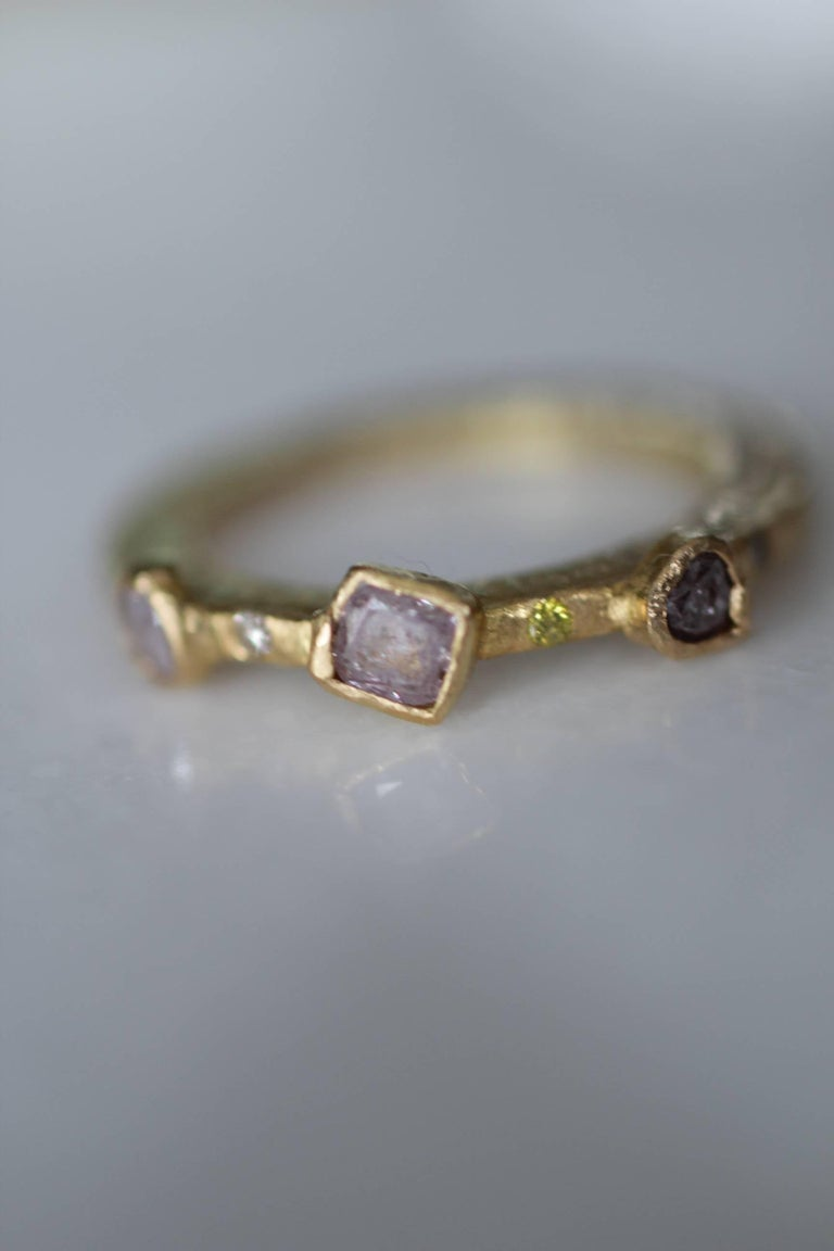 Round Cut Color Diamond Tree-Stone Bezel Set in 22k Gold Engagement Bridal Ring Handmade   For Sale