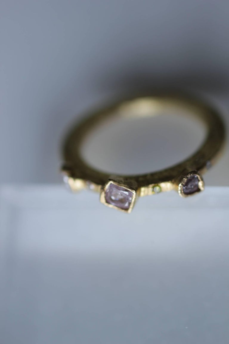 Simplicity Large Disk contemporary design with bezel set diamonds. For sale here is a handmade 22k gold engagement bridal ring with three-stone bezel set diamonds and four flush set diamonds. Made to order in your size, using the stones of similar