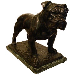 Large Dog English Bulldog Bronze Sculpture, Fritz Diller, Germany, 1910