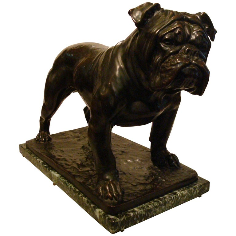 Large Dog English Bulldog Bronze Sculpture, Fritz Diller, Germany, 1910 For Sale